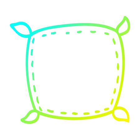 cold gradient line drawing of a cartoon plain cushion Illustration