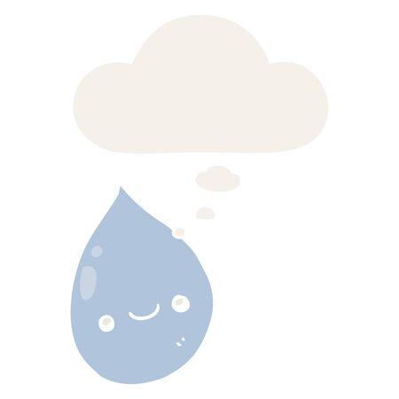 cartoon raindrop with thought bubble in retro style Illusztráció