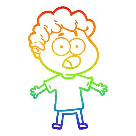 rainbow gradient line drawing of a cartoon man gasping in surprise Ilustração