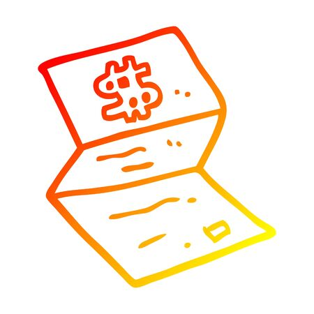 warm gradient line drawing of a cartoon legal money letter