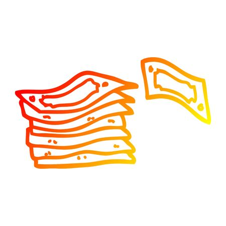 warm gradient line drawing of a cartoon stack of money  イラスト・ベクター素材