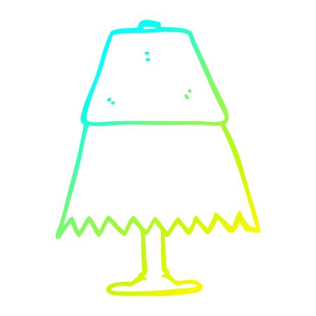 cold gradient line drawing of a cartoon table lamp