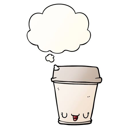 cartoon coffee cup with thought bubble in smooth gradient style
