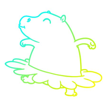 cold gradient line drawing of a cartoon hippo ballerina Banque d'images - 130382522