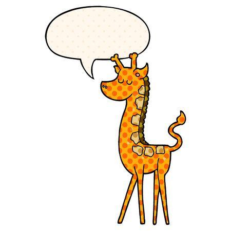 cartoon giraffe with speech bubble in comic book style Foto de archivo - 130382528