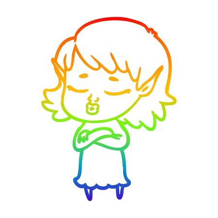 rainbow gradient line drawing of a pretty cartoon elf girl with corssed arms