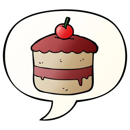 cartoon cake with speech bubble in smooth gradient style