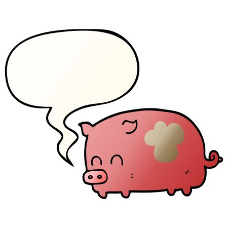 cute cartoon pig with speech bubble in smooth gradient style