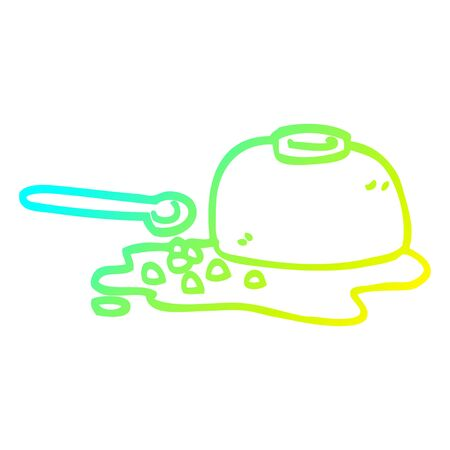 cold gradient line drawing of a cartoon spilt cereal bowl
