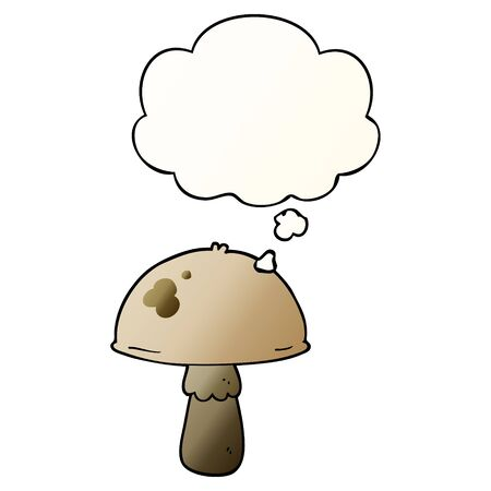 cartoon mushroom with thought bubble in smooth gradient style Ilustração