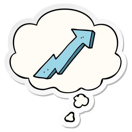 cartoon positive growth arrow with thought bubble as a printed sticker Illustration