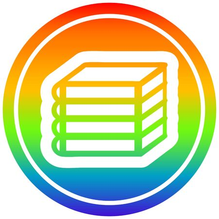 stack of books circular icon with rainbow gradient finish