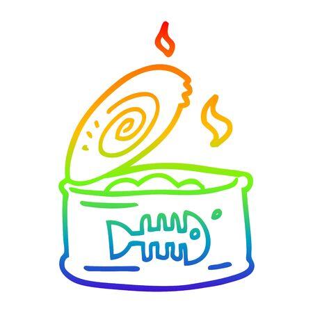 rainbow gradient line drawing of a cartoon tin of tuna