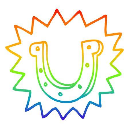 rainbow gradient line drawing of a cartoon lucky horseshoe