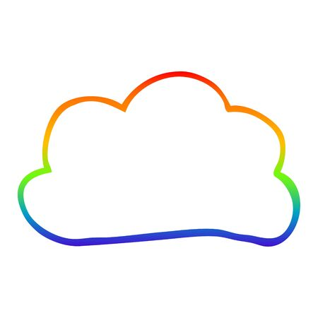 rainbow gradient line drawing of a cartoon weather cloud