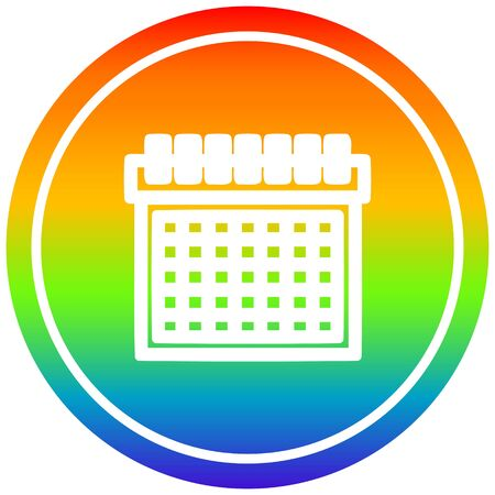 monthly calendar circular icon with rainbow gradient finish