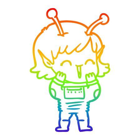 rainbow gradient line drawing of a cartoon alien girl giggling
