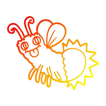 warm gradient line drawing of a cartoon firefly