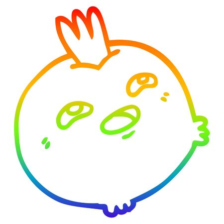 rainbow gradient line drawing of a cartoon happy root vegetable
