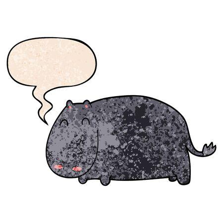 cartoon hippo with speech bubble in retro texture style