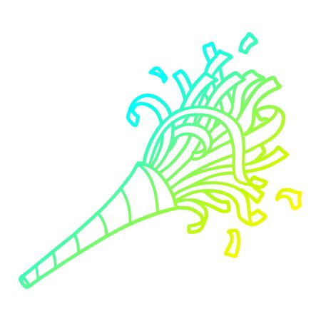 cold gradient line drawing of a cartoon party horn