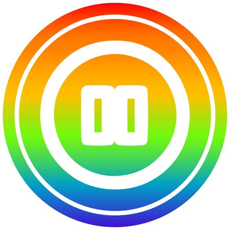pause button circular icon with rainbow gradient finish