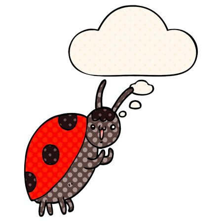 cute cartoon ladybug with thought bubble in comic book style Ilustracja