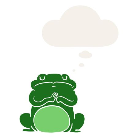 cartoon arrogant frog with thought bubble in retro style
