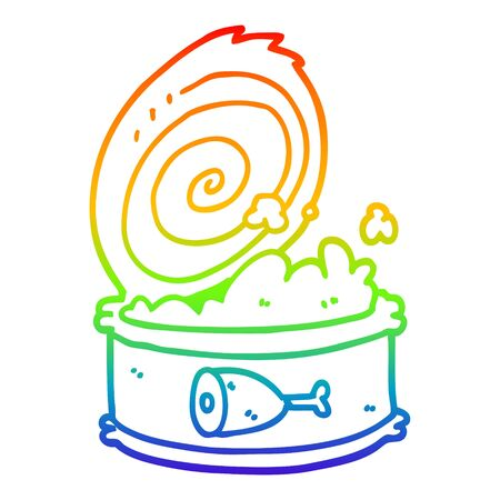 rainbow gradient line drawing of a cartoon canned food