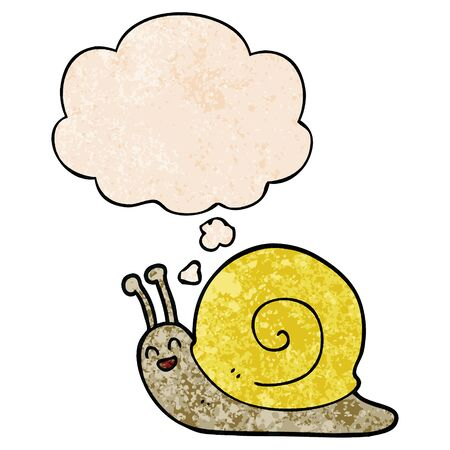 cartoon snail with thought bubble in grunge texture style