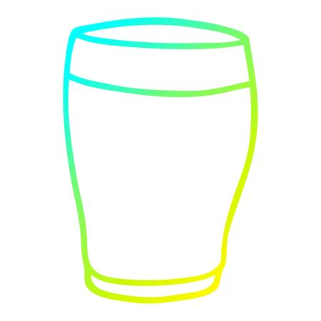 cold gradient line drawing of a cartoon pint drink