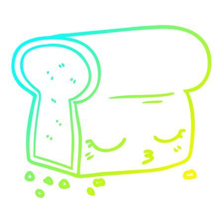 cold gradient line drawing of a cartoon loaf of bread Ilustração