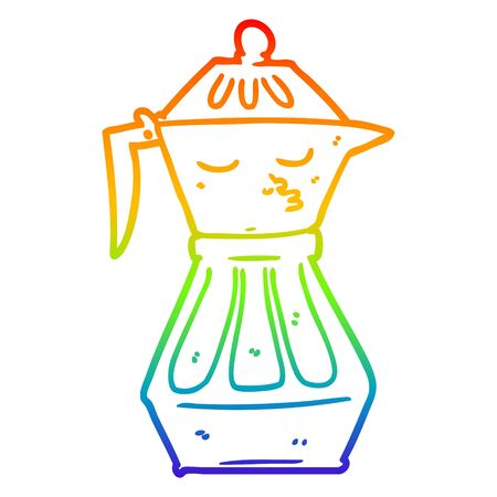 rainbow gradient line drawing of a cartoon coffee pot