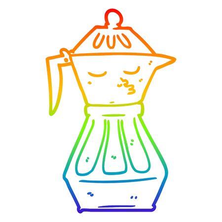 rainbow gradient line drawing of a cartoon coffee pot Foto de archivo - 130382842