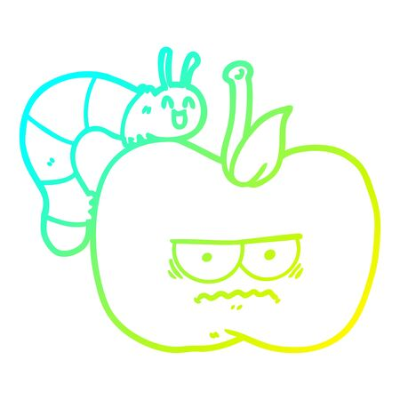 cold gradient line drawing of a cartoon grumpy apple and caterpillar