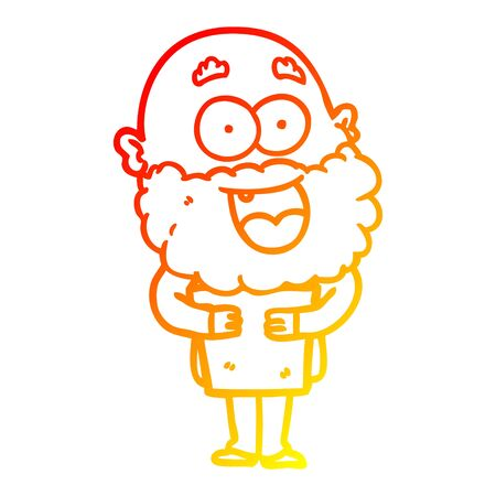 warm gradient line drawing of a cartoon crazy happy man with beard and book Иллюстрация