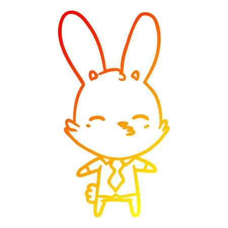 warm gradient line drawing of a curious bunny cartoon