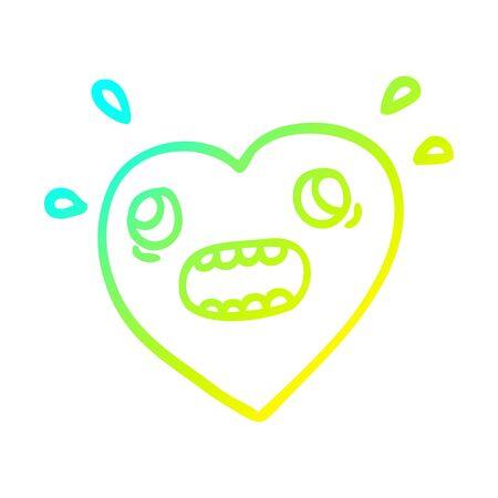 cold gradient line drawing of a cartoon heart panicking Иллюстрация