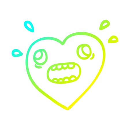 cold gradient line drawing of a cartoon heart panicking Illustration