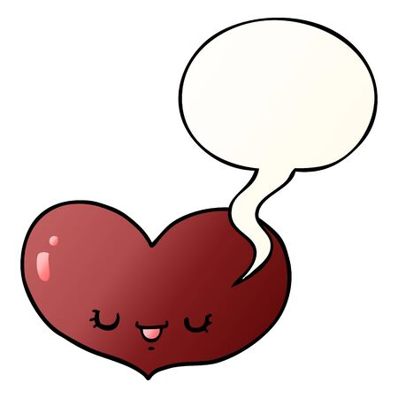 cartoon love heart character with speech bubble in smooth gradient style