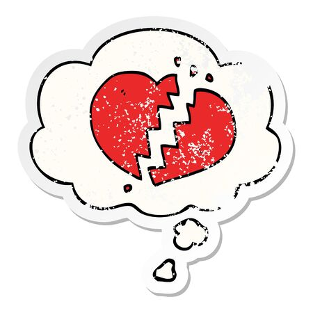 cartoon broken heart with thought bubble as a distressed worn sticker