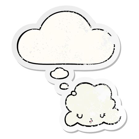 cute cartoon cloud with thought bubble as a distressed worn sticker Çizim