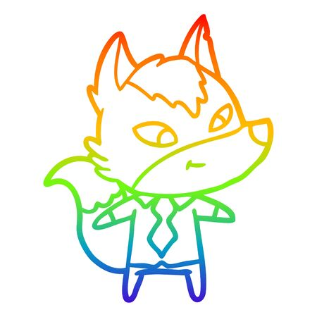 rainbow gradient line drawing of a friendly cartoon wolf manager