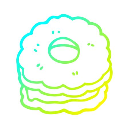cold gradient line drawing of a cartoon jammy biscuit
