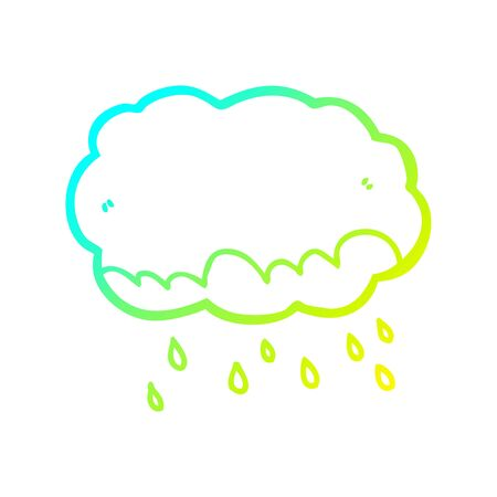 cold gradient line drawing of a cartoon rain cloud