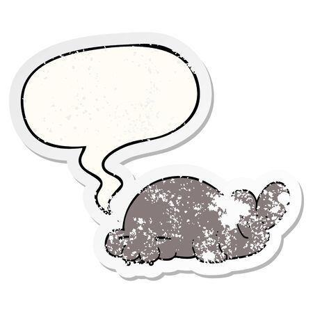 cartoon seal with speech bubble distressed distressed old sticker