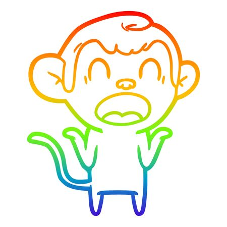 rainbow gradient line drawing of a shouting cartoon monkey shrugging shoulders Illusztráció