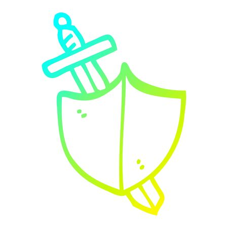 cold gradient line drawing of a cartoon sword and shield