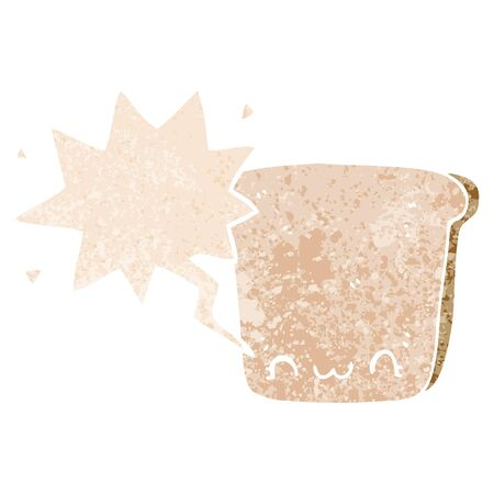 cartoon slice of bread with speech bubble in grunge distressed retro textured style Çizim