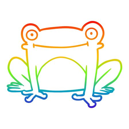rainbow gradient line drawing of a cartoon frog  イラスト・ベクター素材